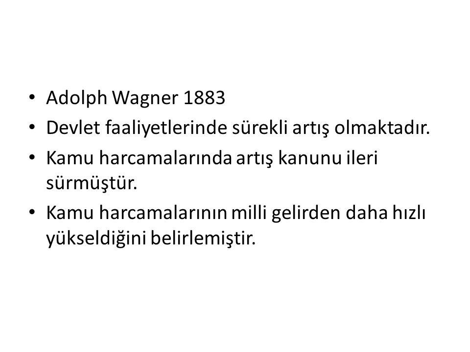 Adolph Wagner 1883 Devlet faaliyetlerinde sürekli artış olmaktadır. Kamu harcamalarında artış kanunu ileri sürmüştür.