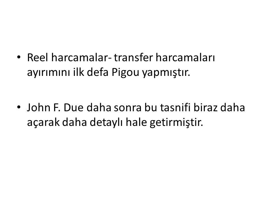Reel harcamalar- transfer harcamaları ayırımını ilk defa Pigou yapmıştır.