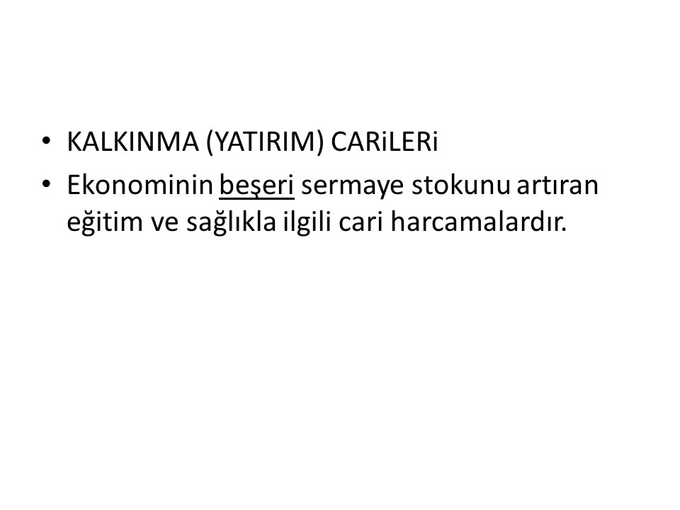 KALKINMA (YATIRIM) CARiLERi
