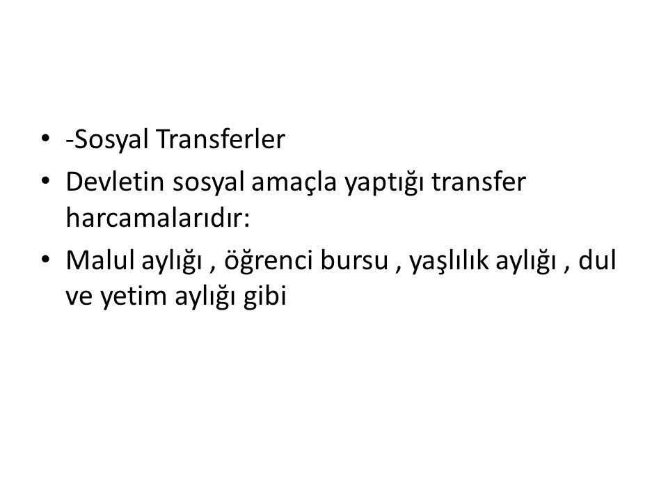 -Sosyal Transferler Devletin sosyal amaçla yaptığı transfer harcamalarıdır: