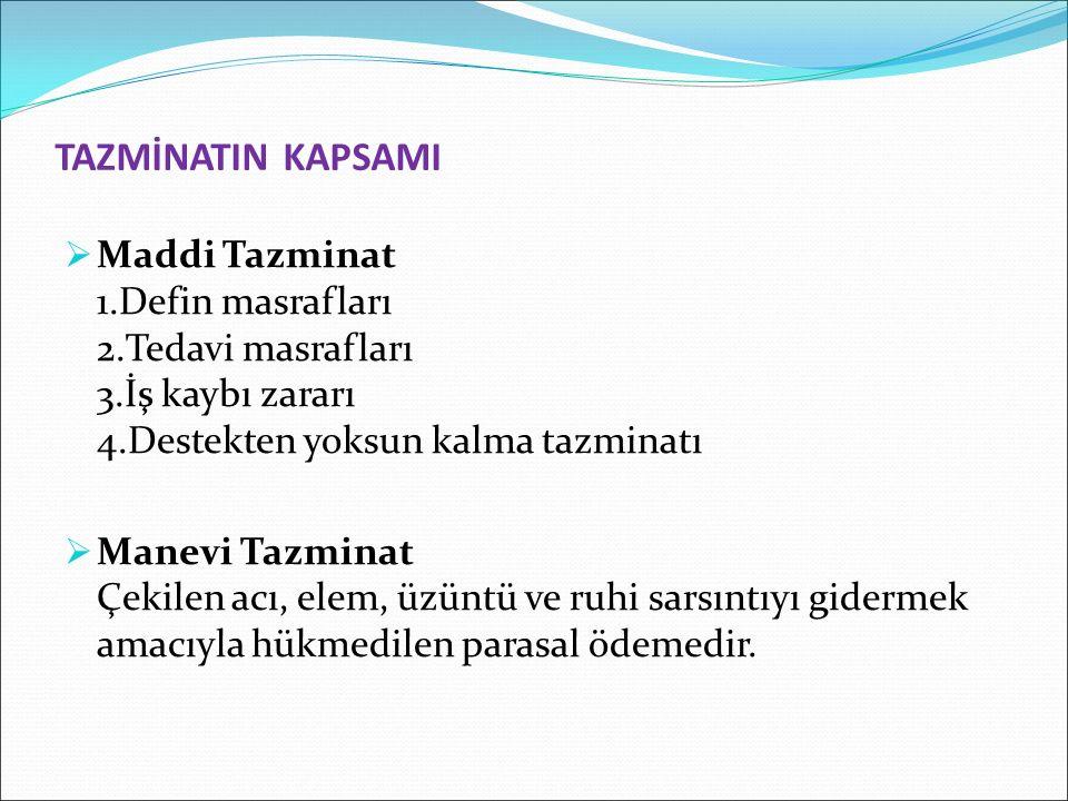 TAZMİNATIN KAPSAMI Maddi Tazminat 1.Defin masrafları 2.Tedavi masrafları 3.İş kaybı zararı 4.Destekten yoksun kalma tazminatı.