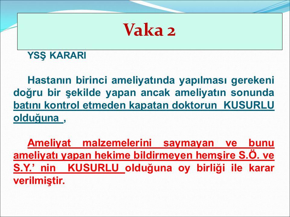 Vaka 2 Vaka 4. YSŞ KARARI.