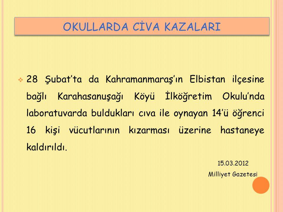 OKULLARDA CİVA KAZALARI