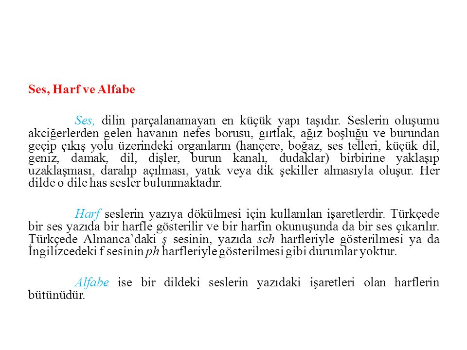 Ses, Harf ve Alfabe