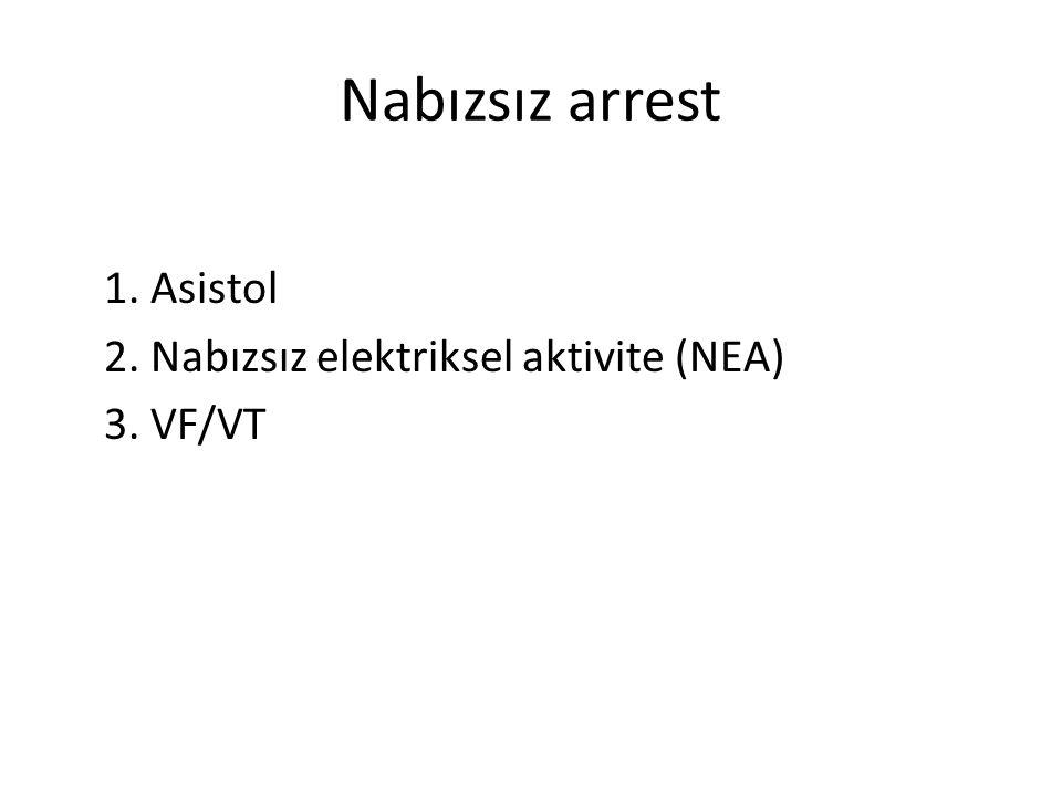 Nabızsız arrest 1. Asistol 2. Nabızsız elektriksel aktivite (NEA)
