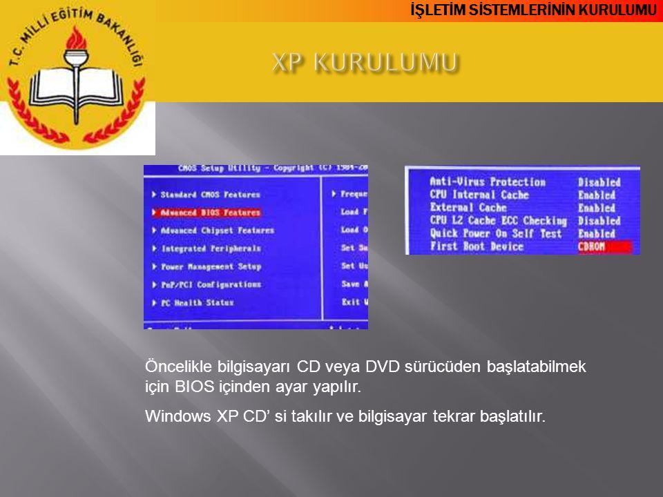 XP KURULUMU Öncelikle bilgisayarı CD veya DVD sürücüden başlatabilmek için BIOS içinden ayar yapılır.