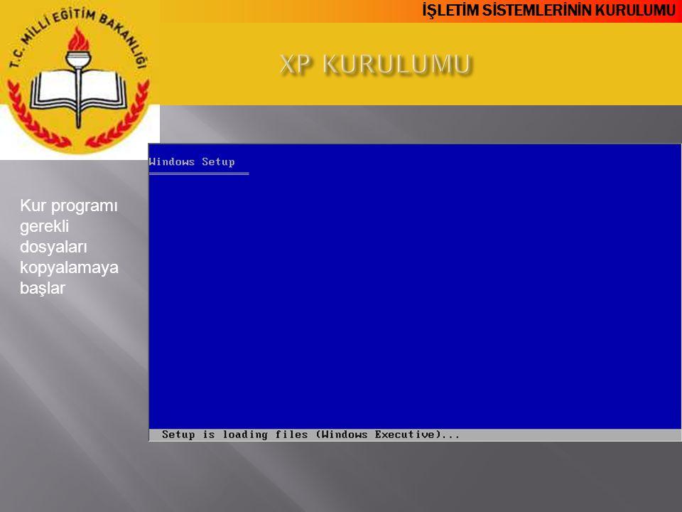 XP KURULUMU Kur programı gerekli dosyaları kopyalamaya başlar