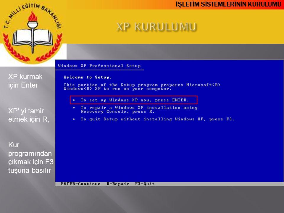 XP KURULUMU XP kurmak için Enter XP' yi tamir etmek için R,