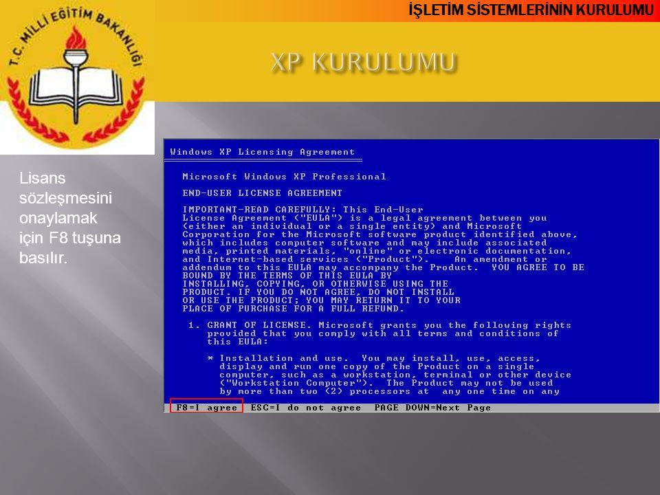 XP KURULUMU Lisans sözleşmesini onaylamak için F8 tuşuna basılır.