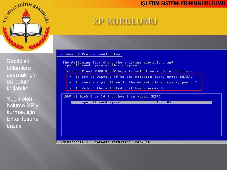 XP KURULUMU Sabitdiski bölümlere ayırmak için bu bölüm kullanılır.