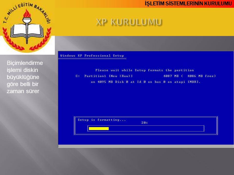 XP KURULUMU Biçimlendirme işlemi diskin büyüklüğüne göre belli bir zaman sürer