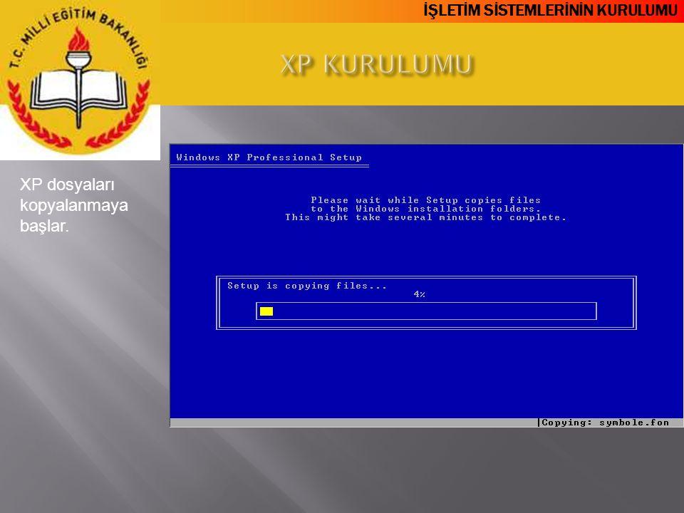 XP KURULUMU XP dosyaları kopyalanmaya başlar.