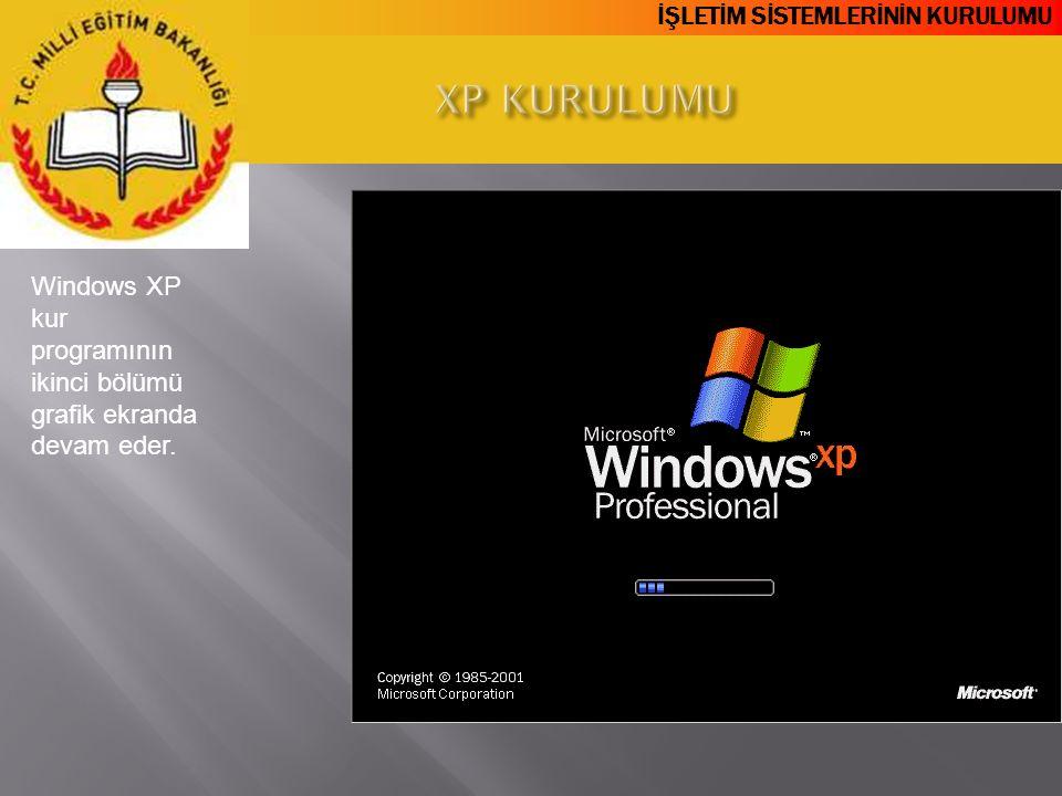 XP KURULUMU Windows XP kur programının ikinci bölümü grafik ekranda devam eder.