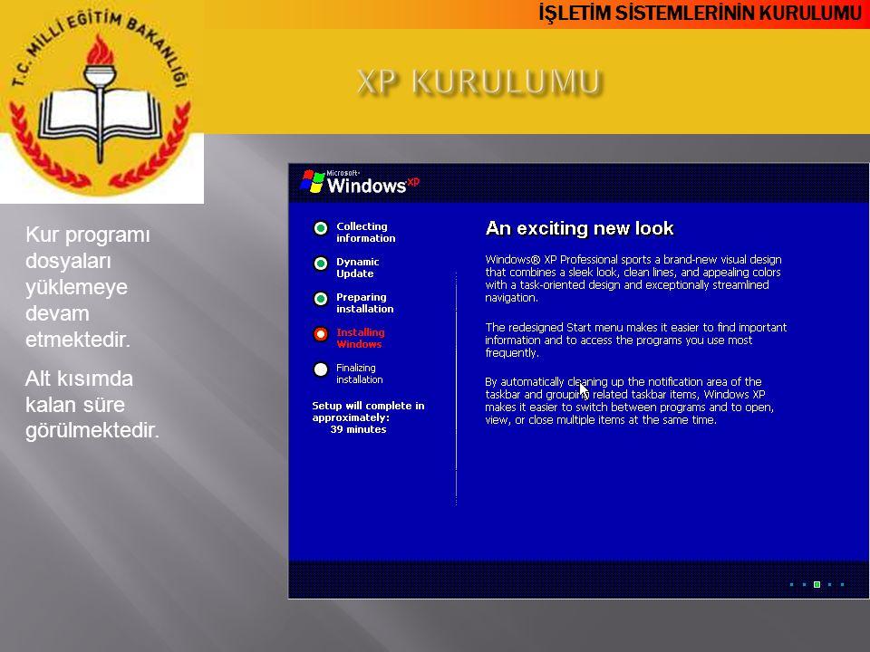 XP KURULUMU Kur programı dosyaları yüklemeye devam etmektedir.