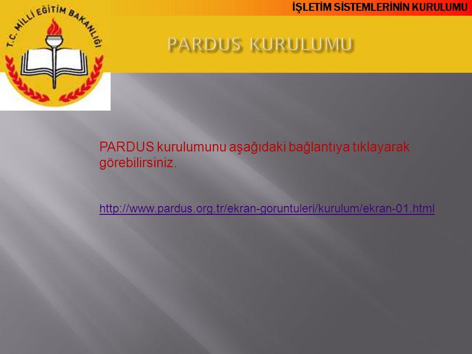 PARDUS KURULUMU PARDUS kurulumunu aşağıdaki bağlantıya tıklayarak görebilirsiniz.