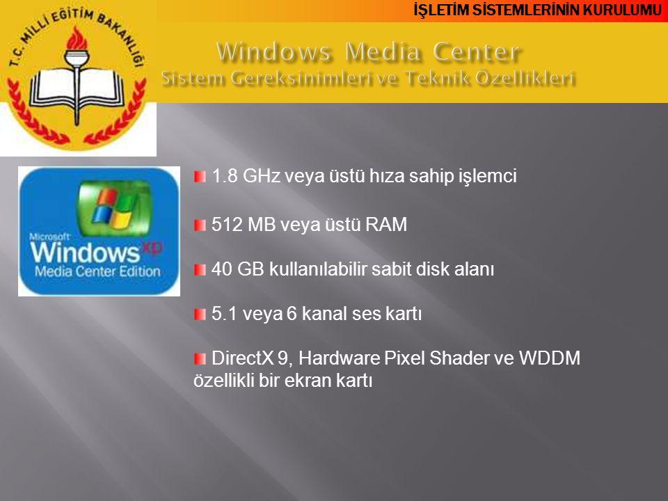 Windows Media Center Sistem Gereksinimleri ve Teknik Özellikleri