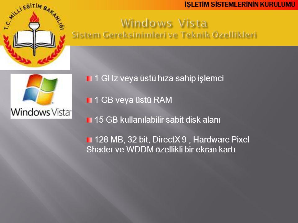 Windows Vista Sistem Gereksinimleri ve Teknik Özellikleri
