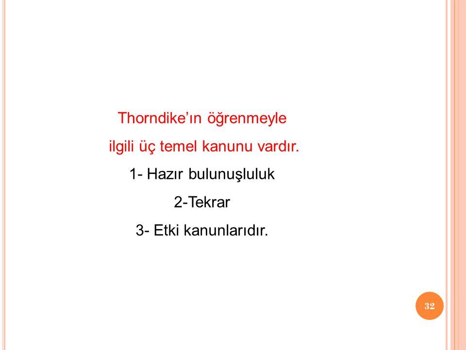 Thorndike'ın öğrenmeyle ilgili üç temel kanunu vardır.
