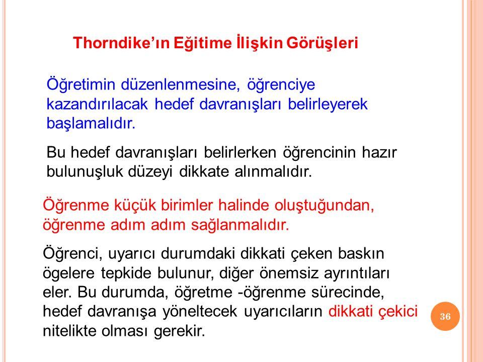 Thorndike'ın Eğitime İlişkin Görüşleri