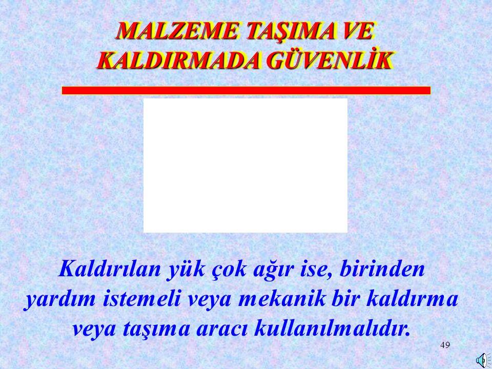 MALZEME TAŞIMA VE KALDIRMADA GÜVENLİK