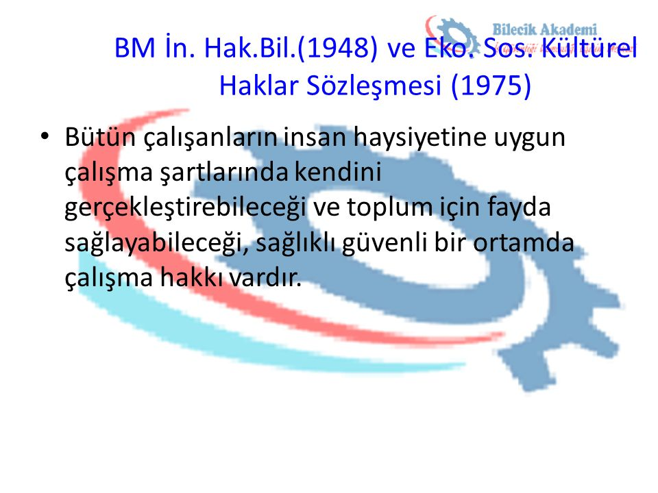 BM İn. Hak.Bil.(1948) ve Eko. Sos. Kültürel Haklar Sözleşmesi (1975)