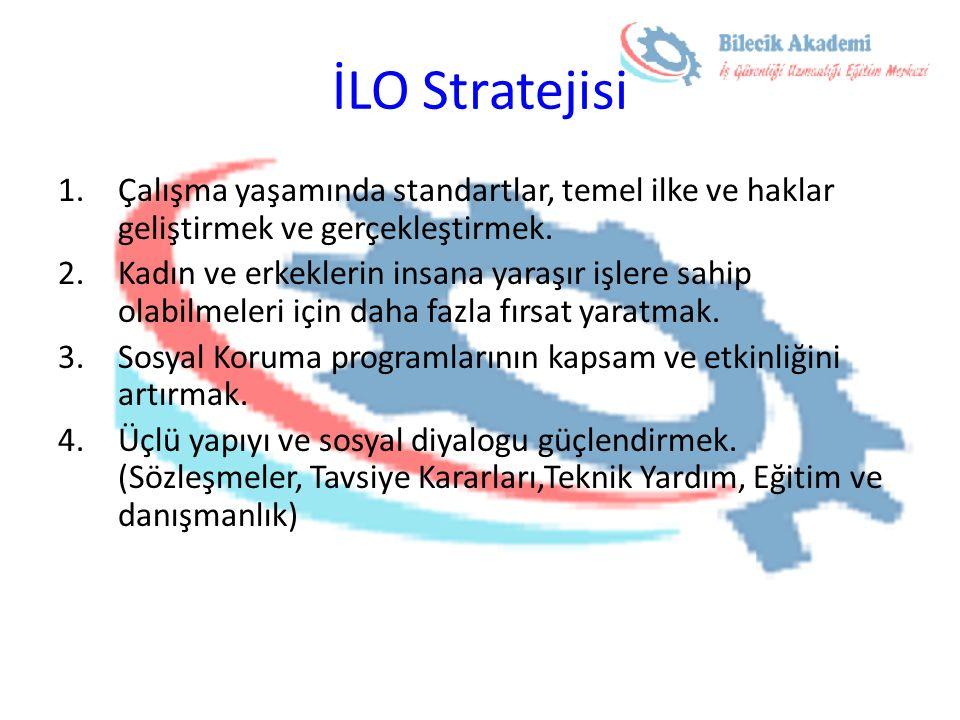 İLO Stratejisi Çalışma yaşamında standartlar, temel ilke ve haklar geliştirmek ve gerçekleştirmek.