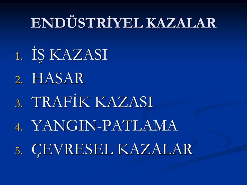İŞ KAZASI HASAR TRAFİK KAZASI YANGIN-PATLAMA ÇEVRESEL KAZALAR