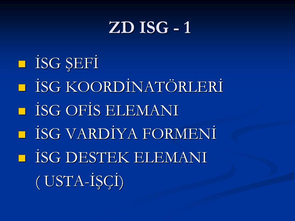 ZD ISG - 1 İSG ŞEFİ İSG KOORDİNATÖRLERİ İSG OFİS ELEMANI