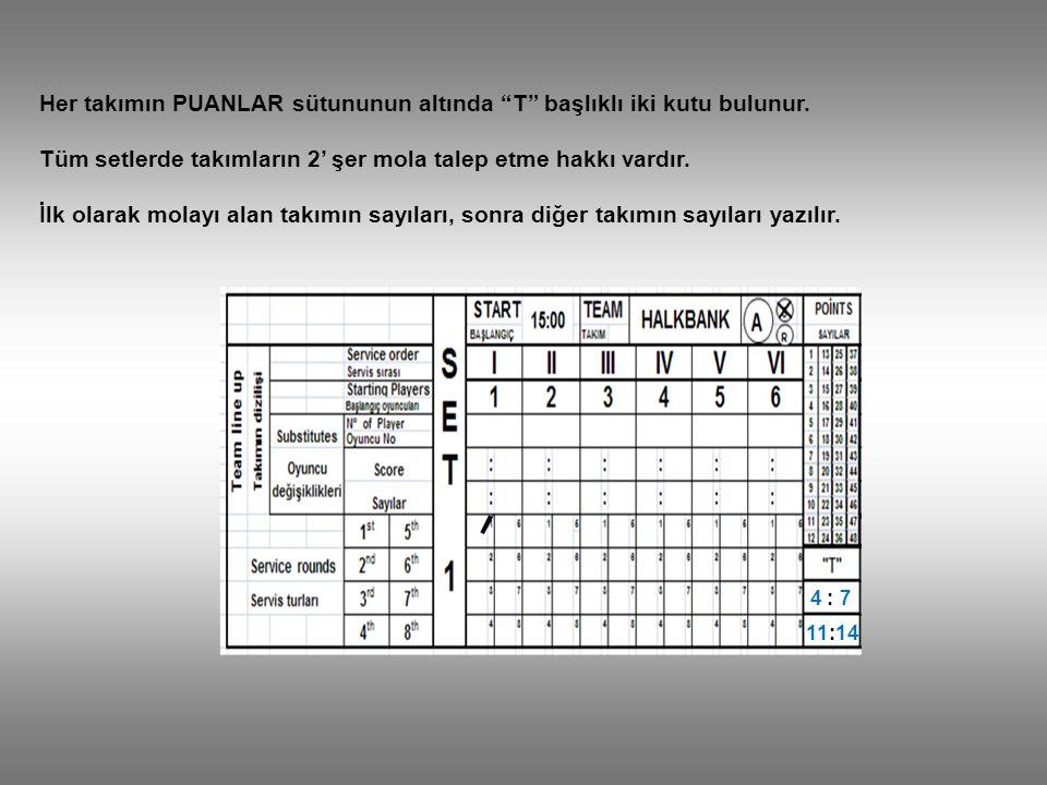 Her takımın PUANLAR sütununun altında T başlıklı iki kutu bulunur.