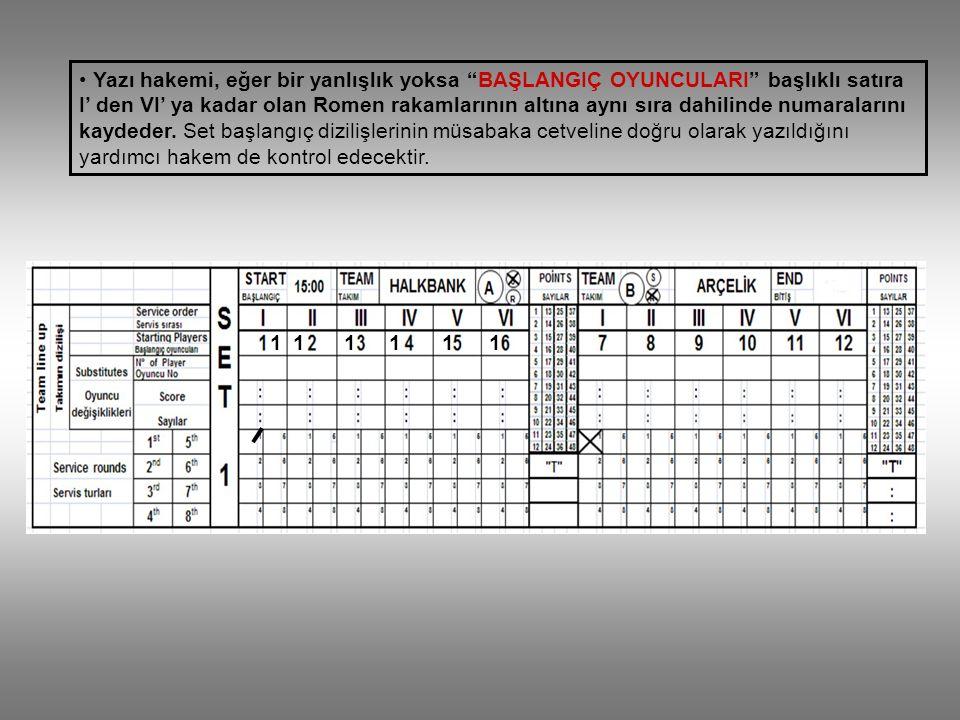 Yazı hakemi, eğer bir yanlışlık yoksa BAŞLANGIÇ OYUNCULARI başlıklı satıra I' den VI' ya kadar olan Romen rakamlarının altına aynı sıra dahilinde numaralarını kaydeder. Set başlangıç dizilişlerinin müsabaka cetveline doğru olarak yazıldığını yardımcı hakem de kontrol edecektir.