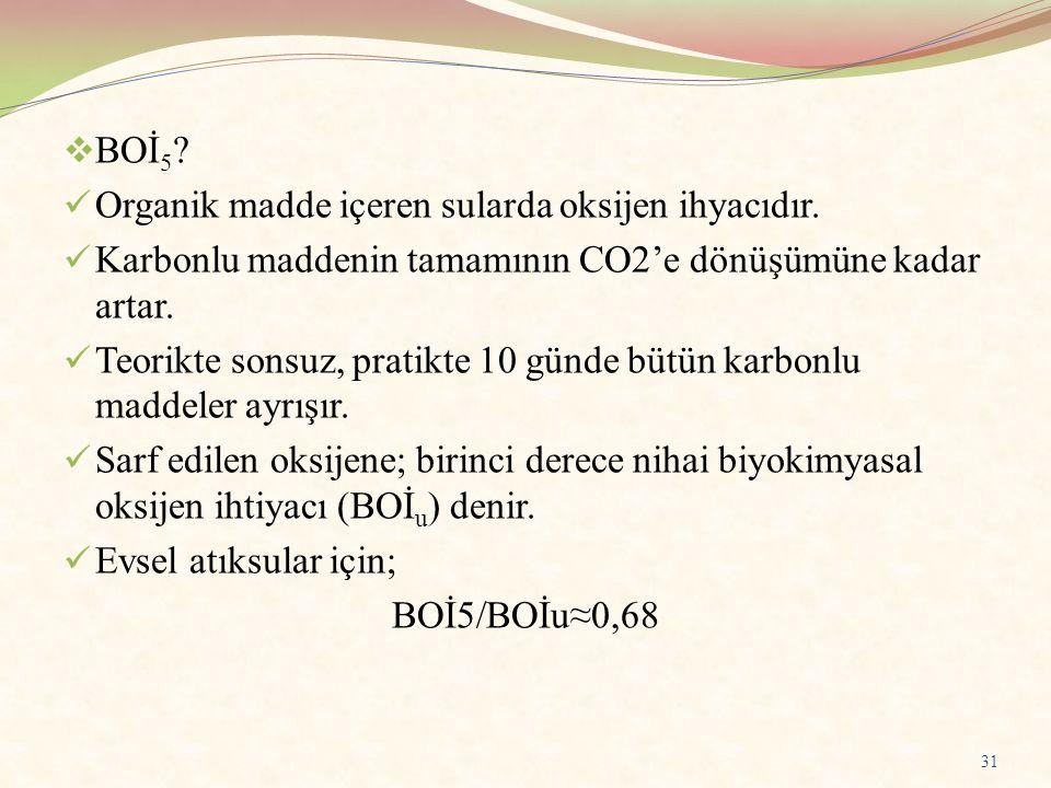 BOİ5 Organik madde içeren sularda oksijen ihyacıdır. Karbonlu maddenin tamamının CO2'e dönüşümüne kadar artar.