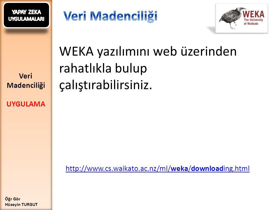 WEKA yazılımını web üzerinden rahatlıkla bulup çalıştırabilirsiniz.