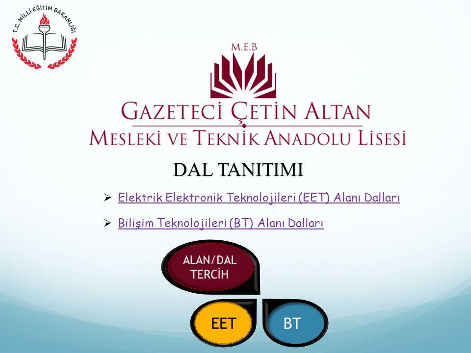 DAL TANITIMI Elektrik Elektronik Teknolojileri (EET) Alanı Dalları. Bilişim Teknolojileri (BT) Alanı Dalları.