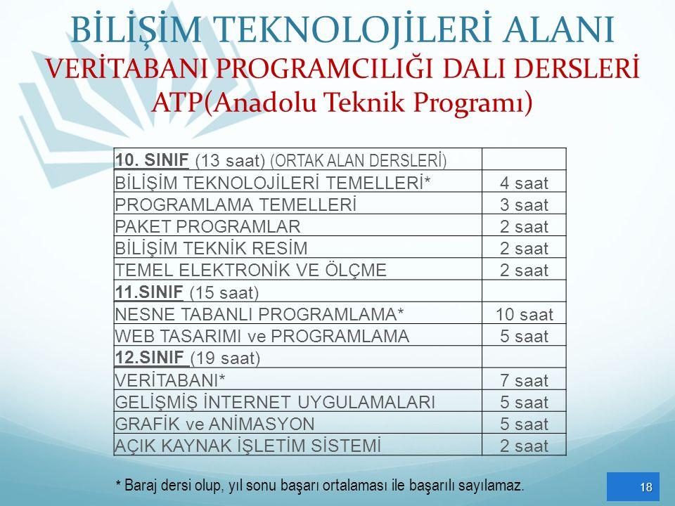 BİLİŞİM TEKNOLOJİLERİ ALANI VERİTABANI PROGRAMCILIĞI DALI DERSLERİ ATP(Anadolu Teknik Programı)