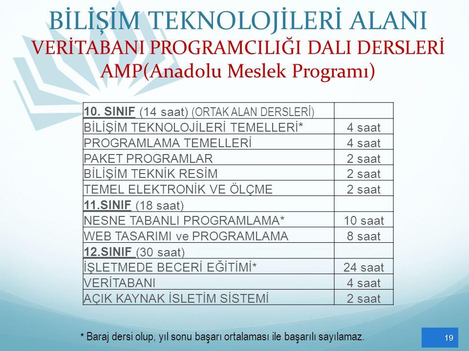 BİLİŞİM TEKNOLOJİLERİ ALANI VERİTABANI PROGRAMCILIĞI DALI DERSLERİ AMP(Anadolu Meslek Programı)