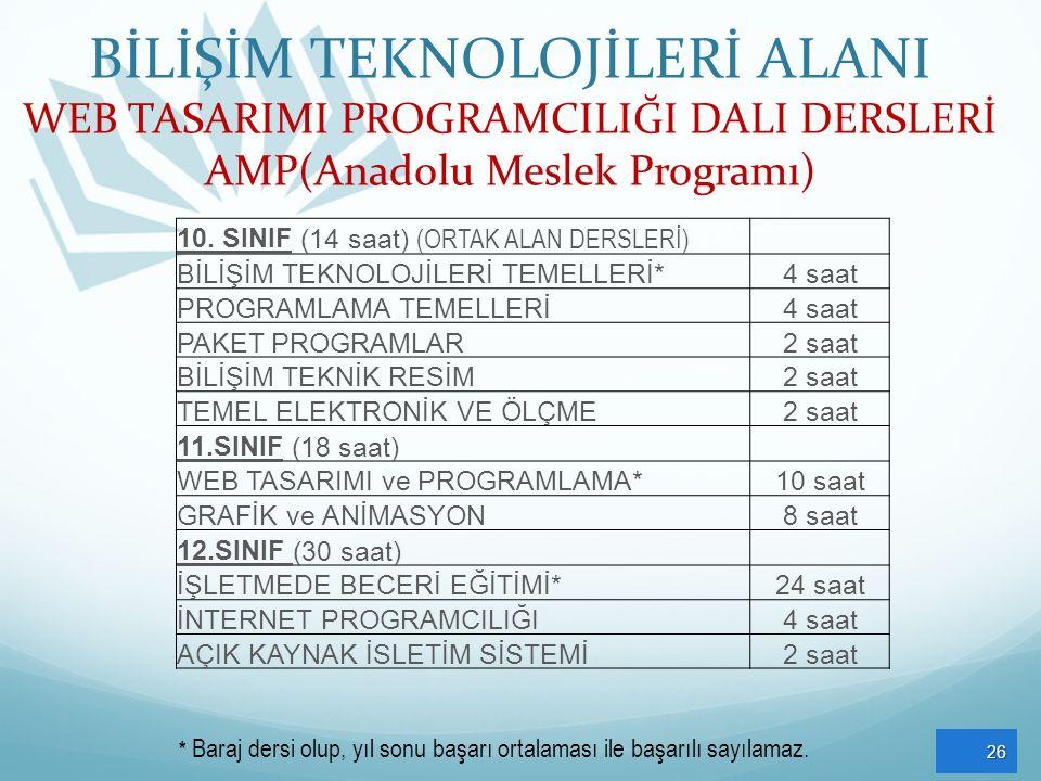 BİLİŞİM TEKNOLOJİLERİ ALANI WEB TASARIMI PROGRAMCILIĞI DALI DERSLERİ AMP(Anadolu Meslek Programı)