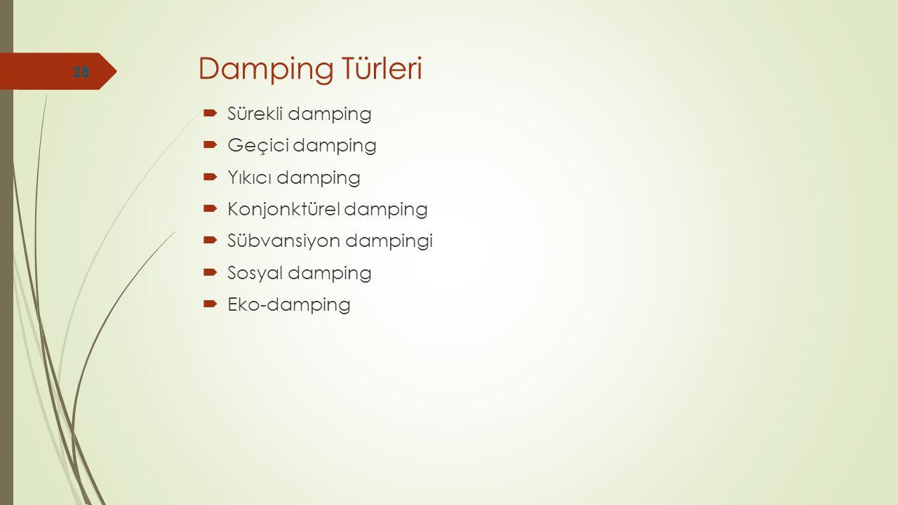 Damping Türleri Sürekli damping Geçici damping Yıkıcı damping