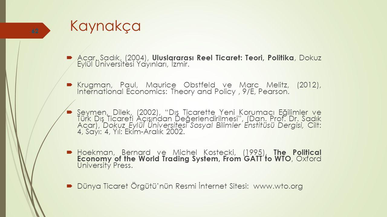 Kaynakça Acar, Sadık, (2004), Uluslararası Reel Ticaret: Teori, Politika, Dokuz Eylül Üniversitesi Yayınları, İzmir.
