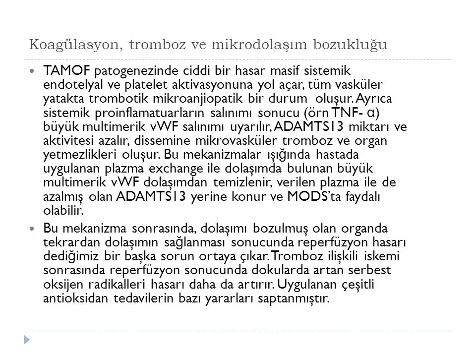 Koagülasyon, tromboz ve mikrodolaşım bozukluğu