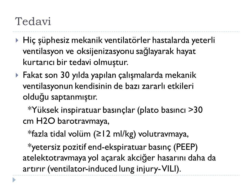 Tedavi Hiç şüphesiz mekanik ventilatörler hastalarda yeterli ventilasyon ve oksijenizasyonu sağlayarak hayat kurtarıcı bir tedavi olmuştur.