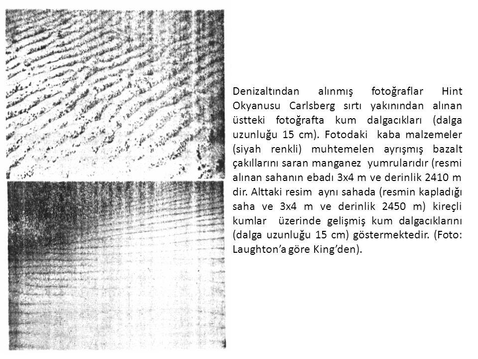 Denizaltından alınmış fotoğraflar Hint Okyanusu Carlsberg sırtı yakınından alınan üstteki fotoğrafta kum dalgacıkları (dalga uzunluğu 15 cm).