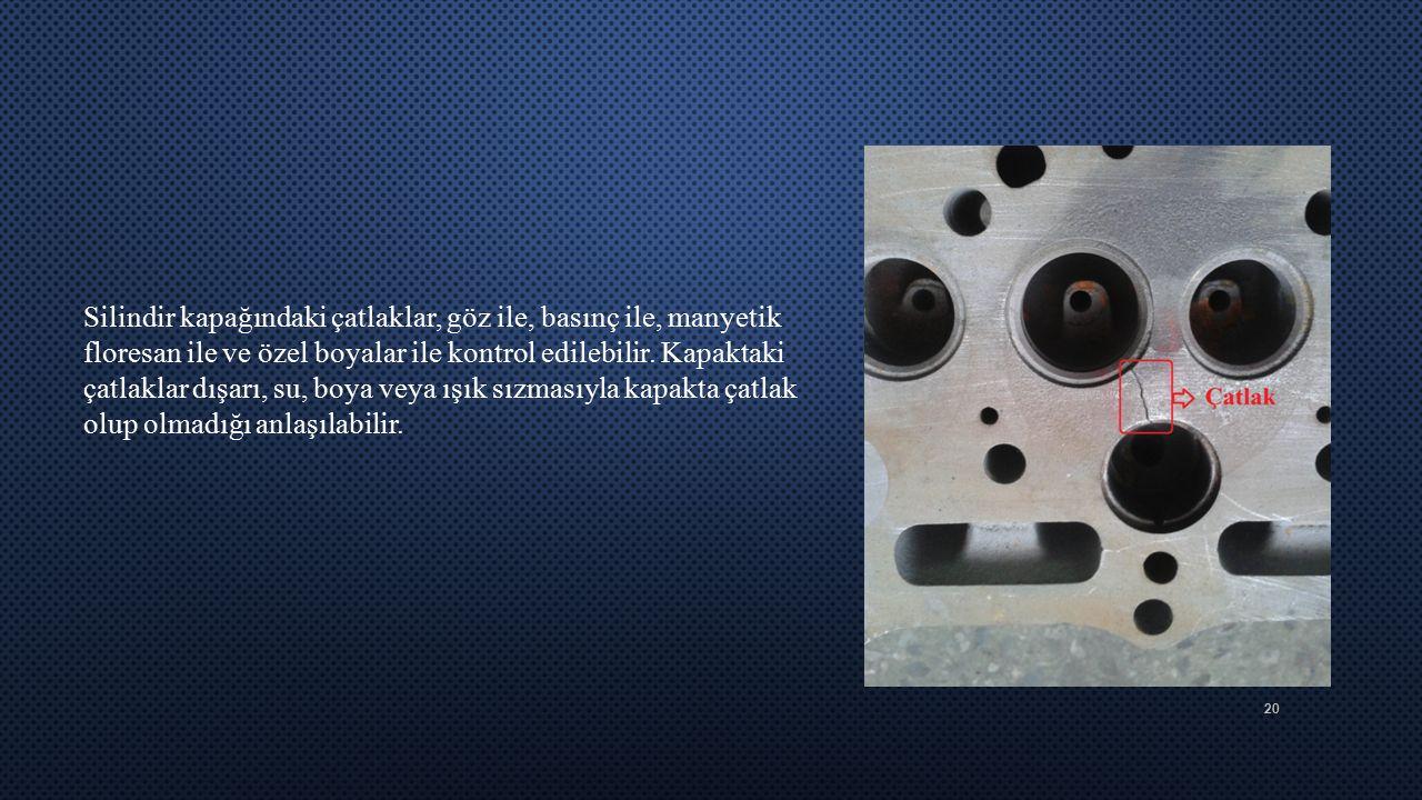 Silindir kapağındaki çatlaklar, göz ile, basınç ile, manyetik floresan ile ve özel boyalar ile kontrol edilebilir.