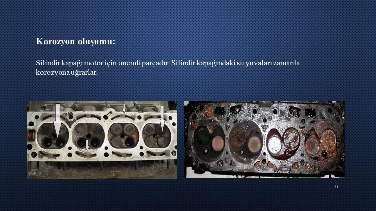 Korozyon oluşumu: Silindir kapağı motor için önemli parçadır.