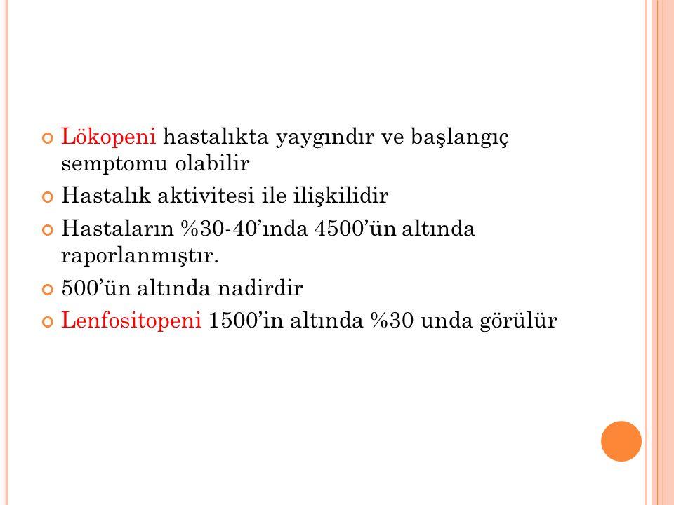 Lökopeni hastalıkta yaygındır ve başlangıç semptomu olabilir