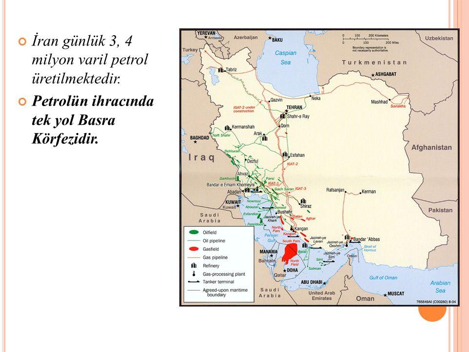İran günlük 3, 4 milyon varil petrol üretilmektedir.