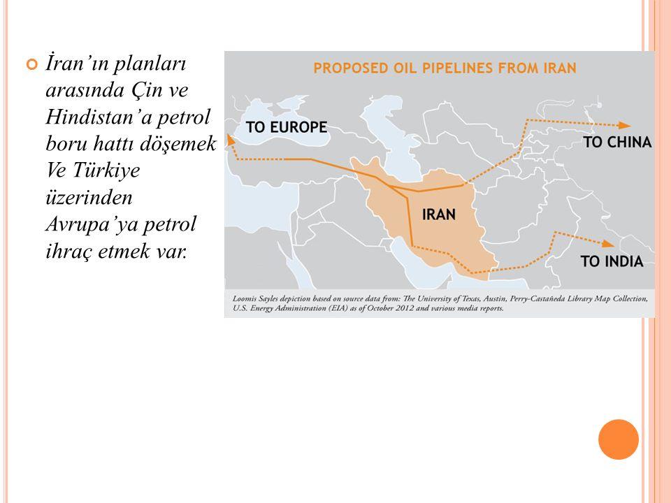 İran'ın planları arasında Çin ve Hindistan'a petrol boru hattı döşemek Ve Türkiye üzerinden Avrupa'ya petrol ihraç etmek var.