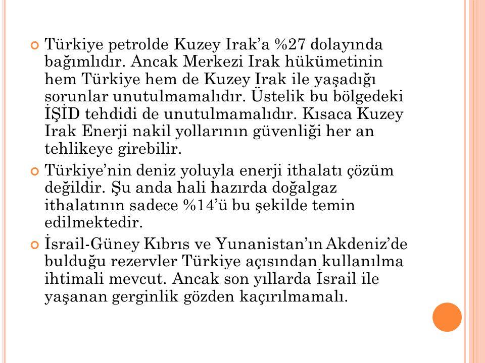 Türkiye petrolde Kuzey Irak'a %27 dolayında bağımlıdır