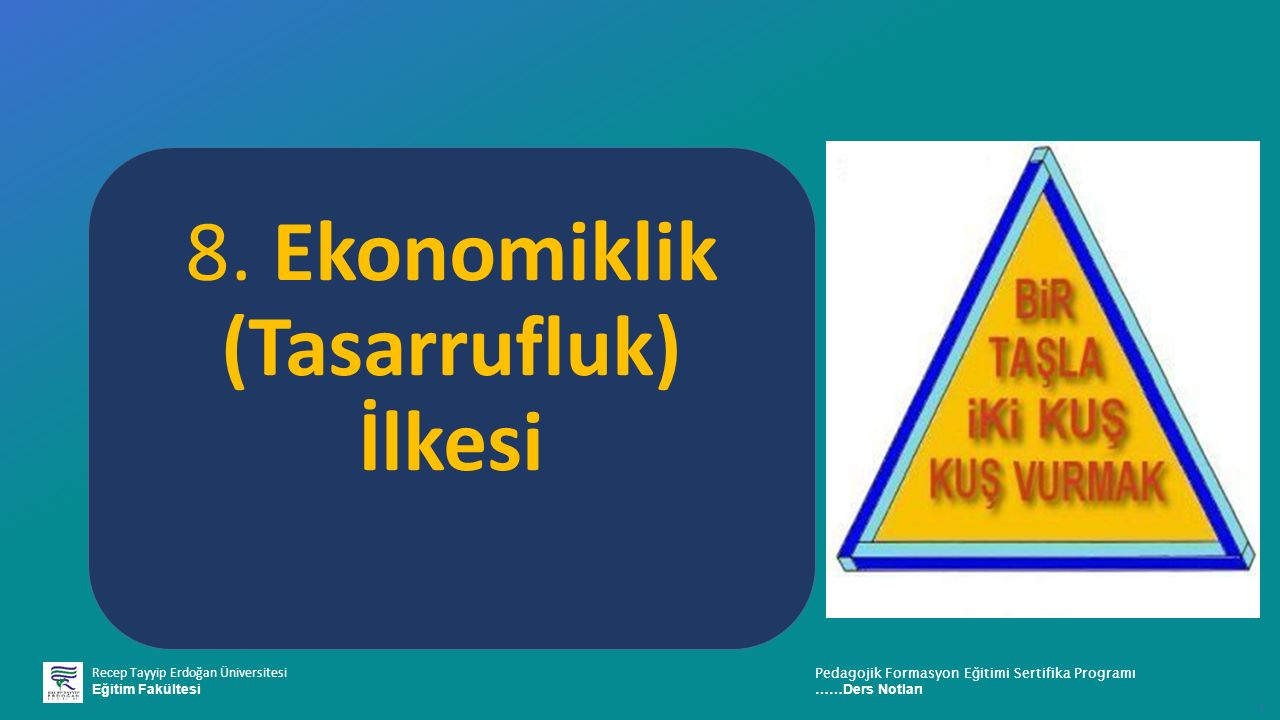 8. Ekonomiklik (Tasarrufluk) İlkesi