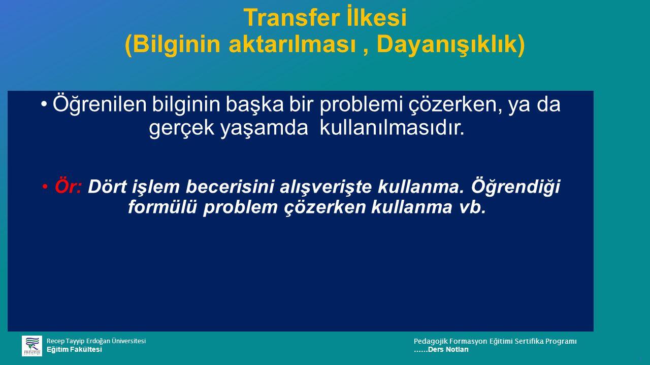 Transfer İlkesi (Bilginin aktarılması , Dayanışıklık)