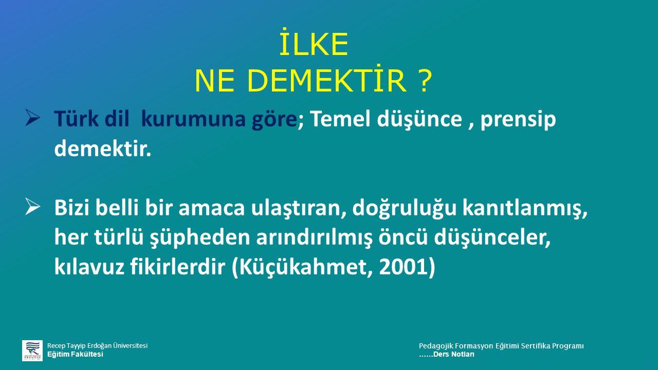 İLKE NE DEMEKTİR Türk dil kurumuna göre; Temel düşünce , prensip demektir.